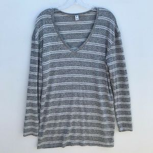 BP. Cozy V-Neck Striped Sweater Gray White #2194